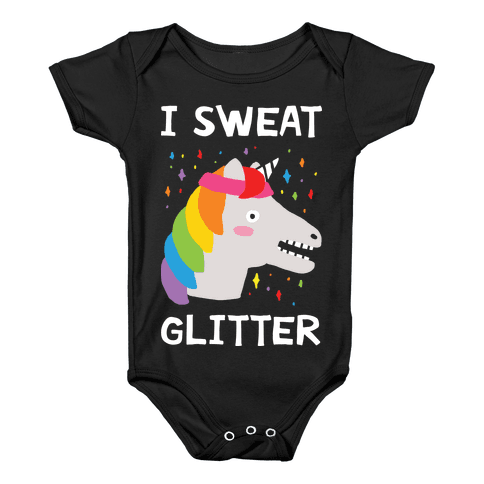 I Sweat Glitter Unicorn Baby Onesy
