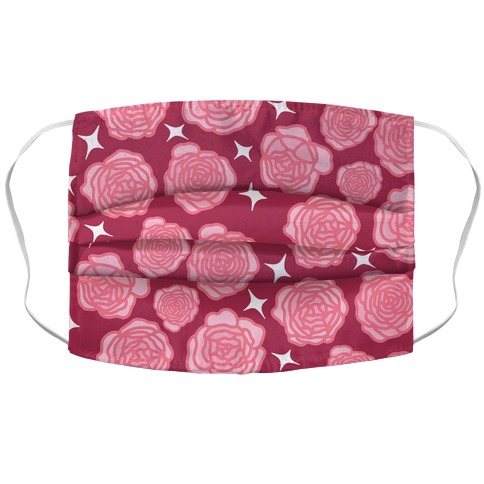 Pink Sparkle Roses Pattern Accordion Face Mask