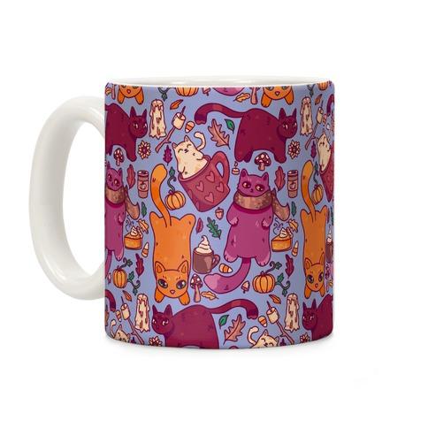 Fall Cats Pattern Coffee Mug
