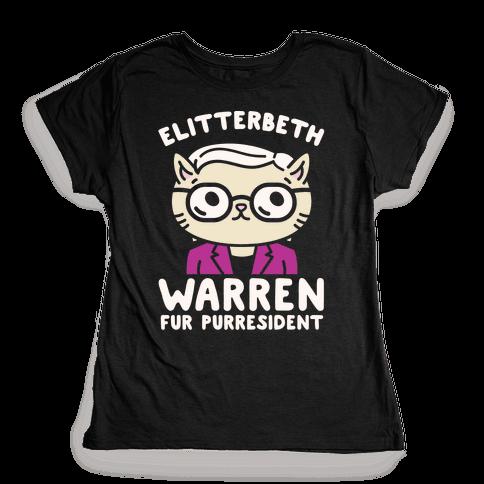 Elitterbeth Warren Fur Purresident White Print Womens T-Shirt