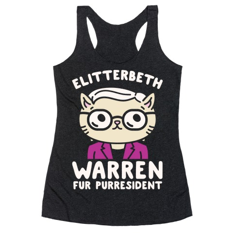 Elitterbeth Warren Fur Purresident White Print Racerback Tank Top