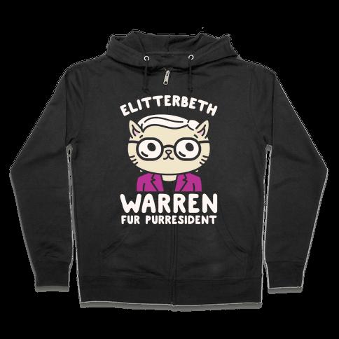 Elitterbeth Warren Fur Purresident White Print Zip Hoodie