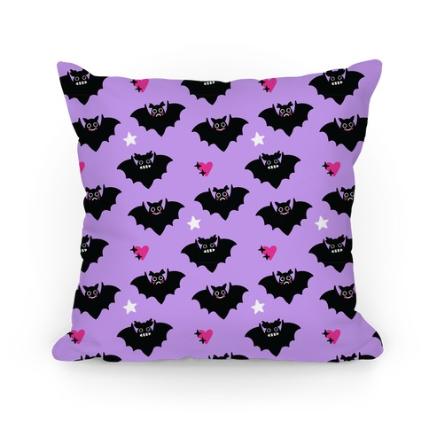 Pastel Goth Bats Pattern Pillow
