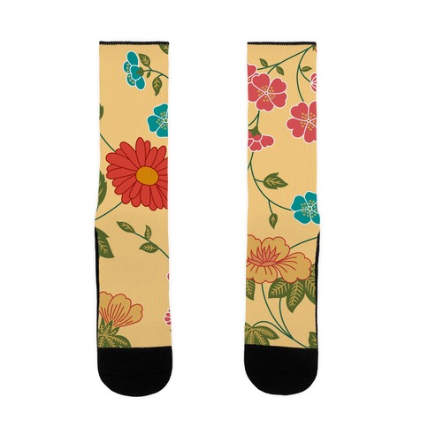 Pretty Floral Pattern Blanket Sock