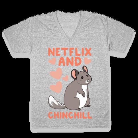 Netflix and Chinchill V-Neck Tee Shirt
