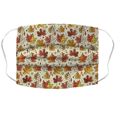 Mid Century Modern Fall Leaves Accordion Face Mask