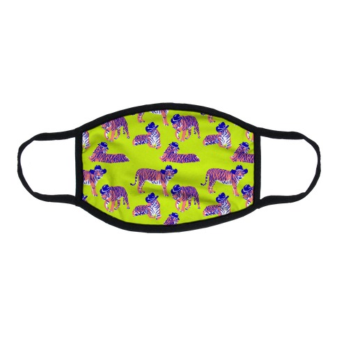 Tigers in Cowboy Hat Neon Pattern Flat Face Mask