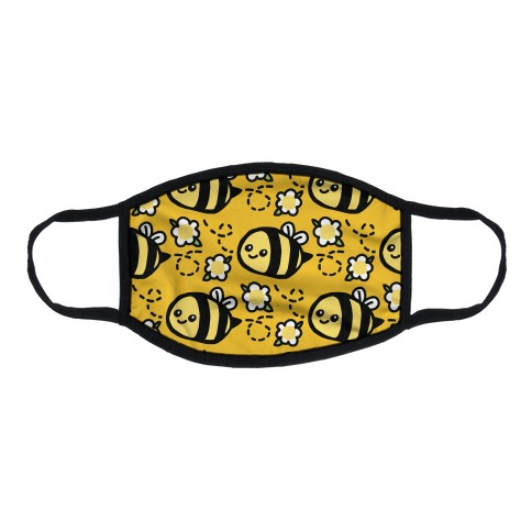 Cute Bumble Bee and Flower Pattern Flat Face Mask