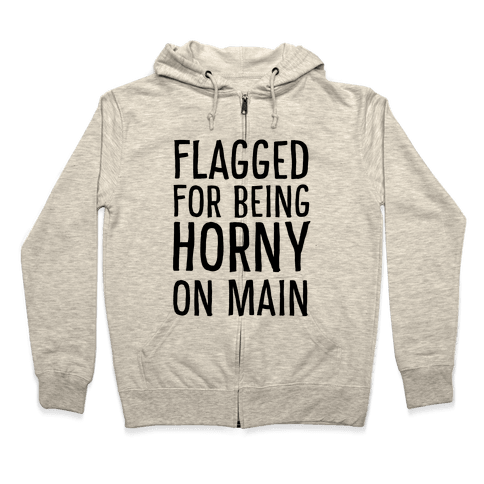 Flagged for Being Horny on Main Zip Hoodie