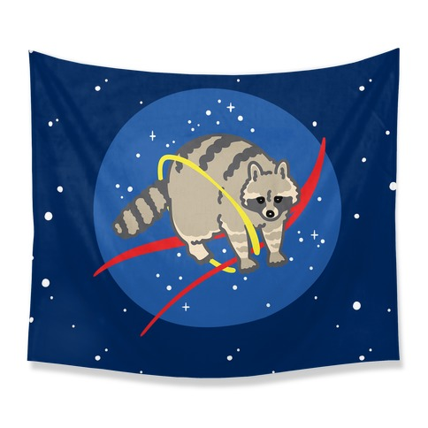 Trash Raccoon Nasa Logo Parody Tapestry