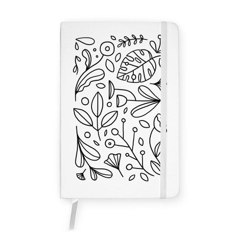 Black and White Plant Pattern Notebook