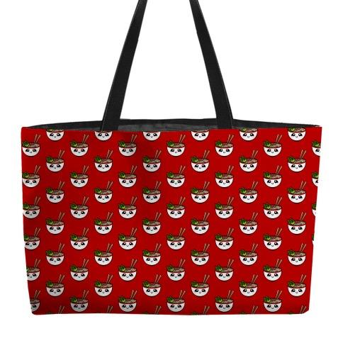 Happy Bowl Of Pho Pattern Red Weekender Tote