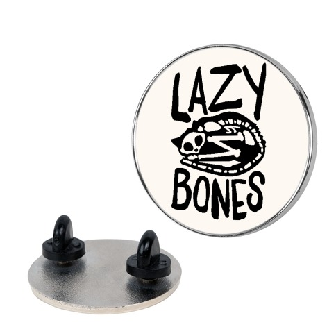 Lazy Bones Cat Skeleton Pin