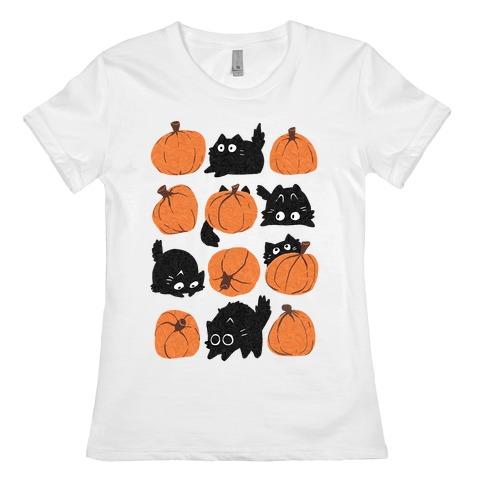 Pumpkin Cats Womens T-Shirt