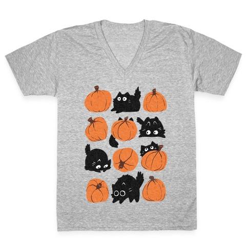 Pumpkin Cats V-Neck Tee Shirt