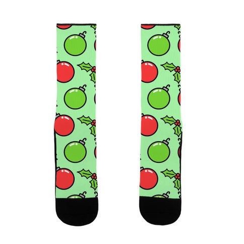 Christmas Bulbs N' Holly Sock