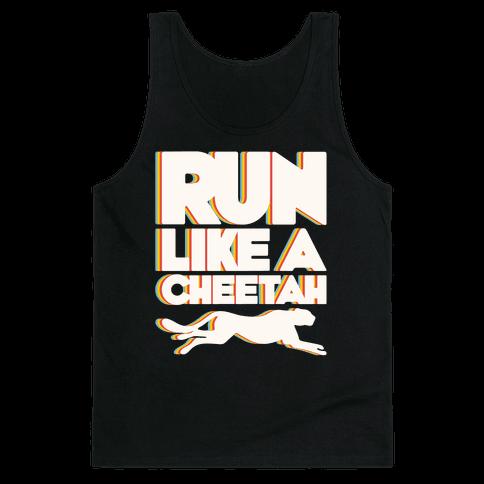 Run Like A Cheetah White Print Tank Top