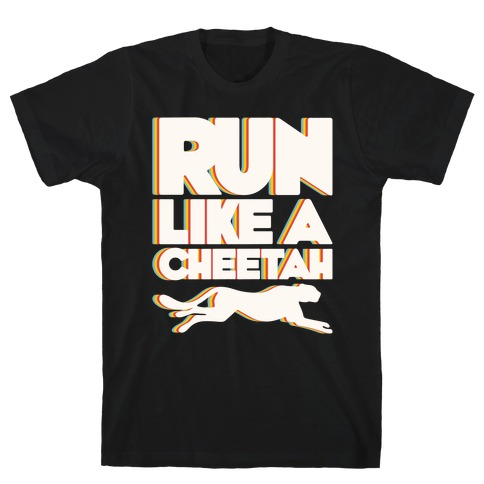 Run Like A Cheetah White Print T-Shirt