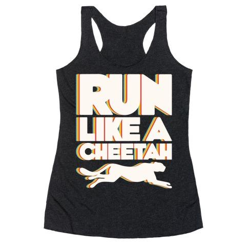Run Like A Cheetah White Print Racerback Tank Top