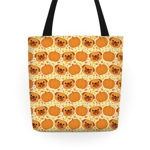 Pug Pumpkin Pattern Tote