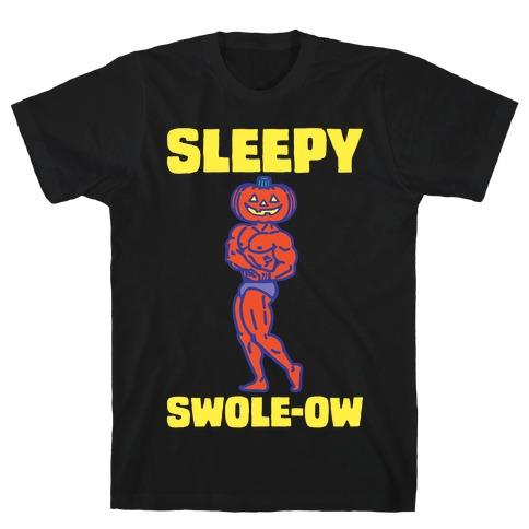 Sleep Swole-ow Parody White Print T-Shirt