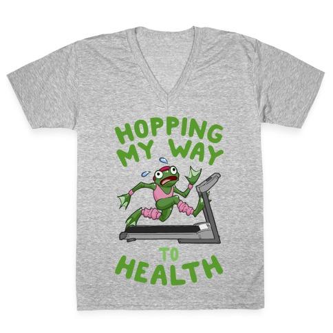 Hopping My Way To Health V-Neck Tee Shirt