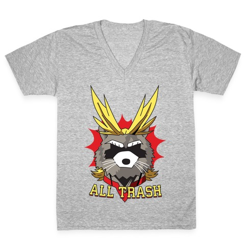 All Trash (All Might Raccoon) V-Neck Tee Shirt
