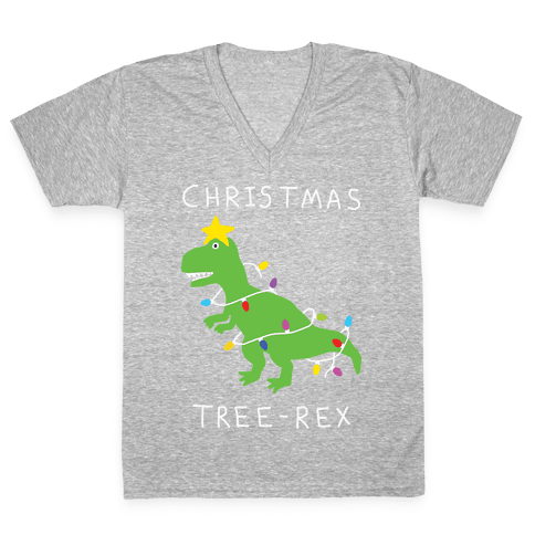 Christmas Tree Rex V-Neck Tee Shirt
