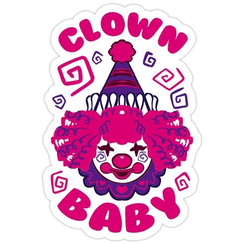 Clown Baby Die Cut Sticker