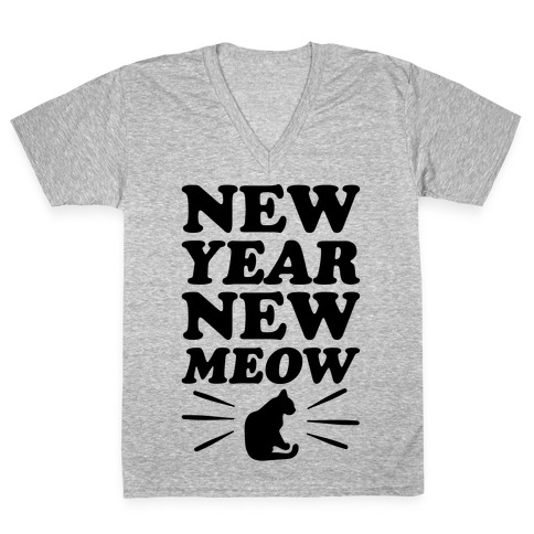 New Year New Meow V-Neck Tee Shirt