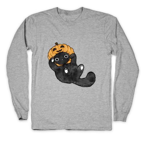 Halloween Pumpkin Cat Long Sleeve T-Shirt