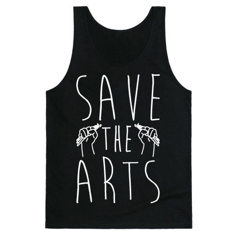 Save The Arts White Print Tank Top