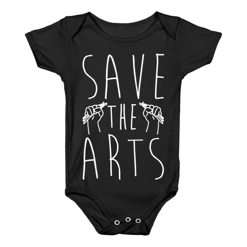 Save The Arts White Print Baby Onesy