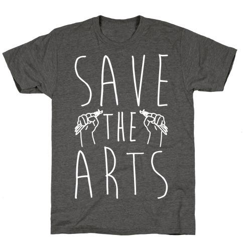 Save The Arts White Print Mens/Unisex T-Shirt