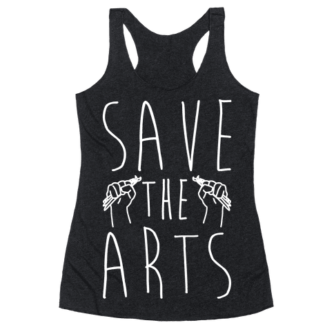 Save The Arts White Print Racerback Tank Top