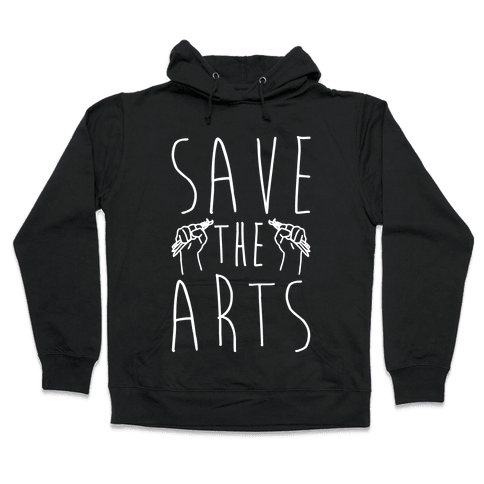Save The Arts White Print Hooded Sweatshirt