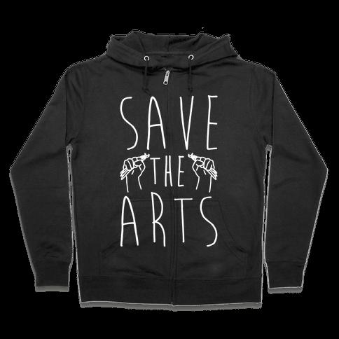 Save The Arts White Print Zip Hoodie