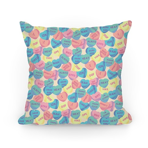 Awkward Candy Hearts Pillow