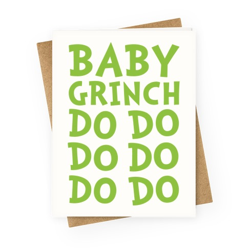 Baby Grinch Baby Shark Parody Greeting Card