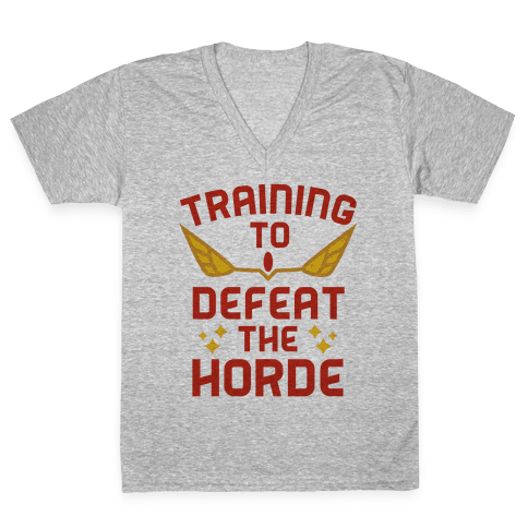 Training to Defeat the Horde V-Neck Tee Shirt