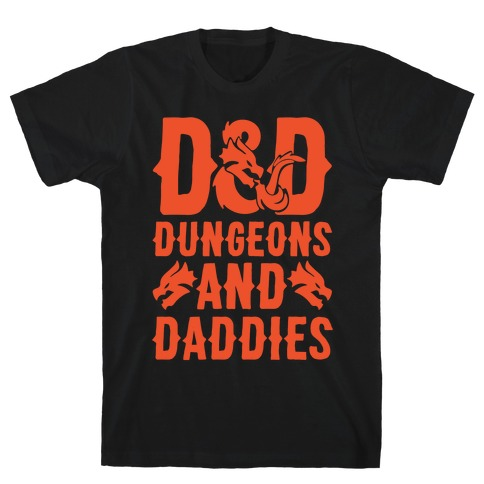 Dungeons and Daddies Parody White Print T-Shirt