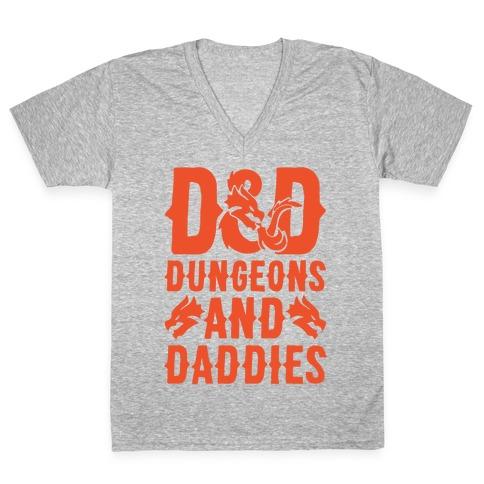 Dungeons and Daddies Parody White Print V-Neck Tee Shirt