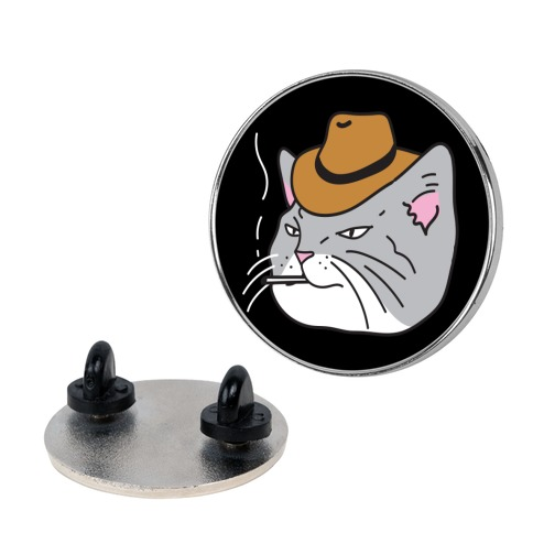 Smoking Cowboy Cat Pin