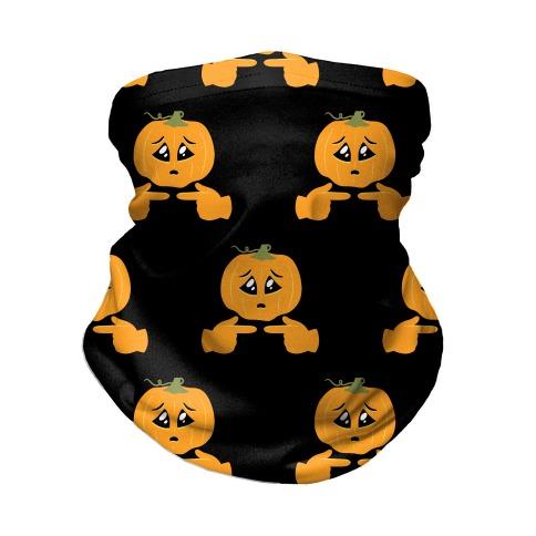 Shy Emoji Jack-o-Lantern Neck Gaiter