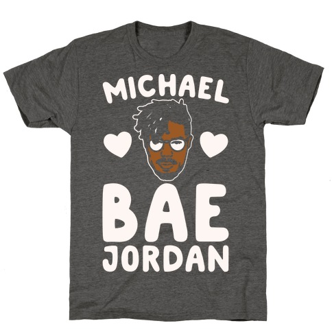 Michael Bae Jordan Parody White Print T-Shirt