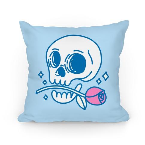 Hopeless Romantic Skull Pillow
