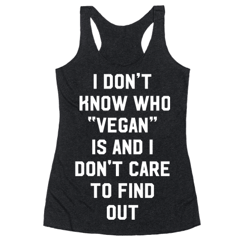 I Don't Know Who Vegan Is Racerback Tank Top