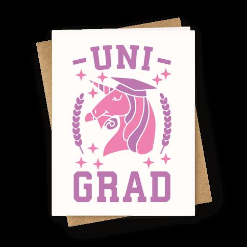 Uni Grad - Unicorn Greeting Card
