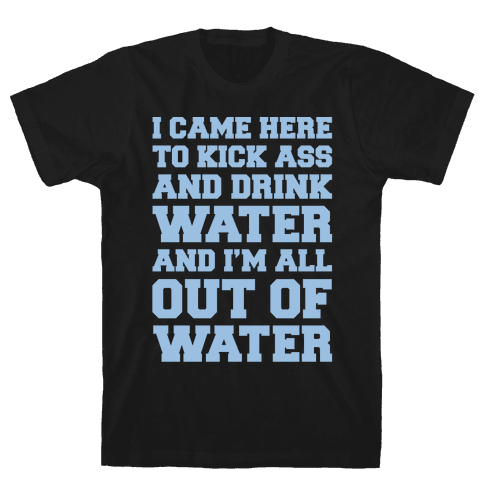 I Came Here To Kick Ass and Drink Water Parody White Print Mens T-Shirt