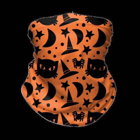 Witchy Halloween Pattern Neck Gaiter